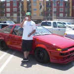 Steve's Corolla (Circa mid-late 80's).  Its pretty and its Imola red (yes the BMW color).  Go team Advance!
